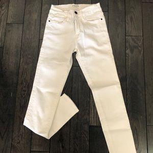 FRAME white high rise skinny jeans